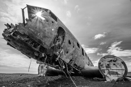 grayscale photography of crashed plane
