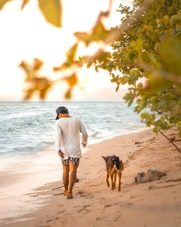 man in white long-sleeved shirt beside black dog walking on seashore Stock fotó