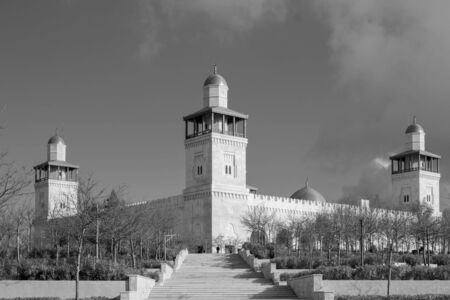 grayscale photography of mosque