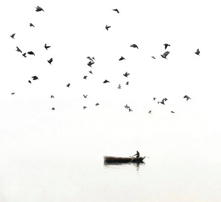man on boat under birds flying