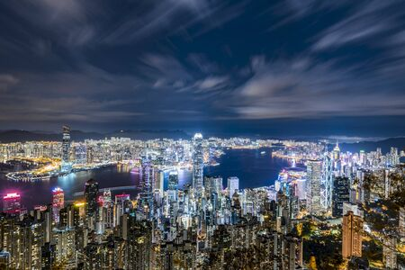 hong kong skyline at suns