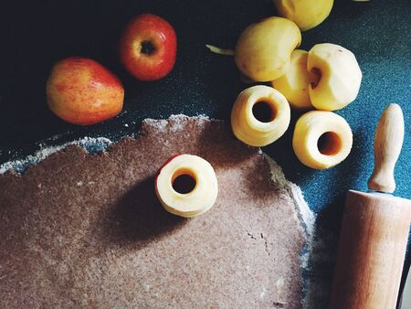 rolling pin and fruits