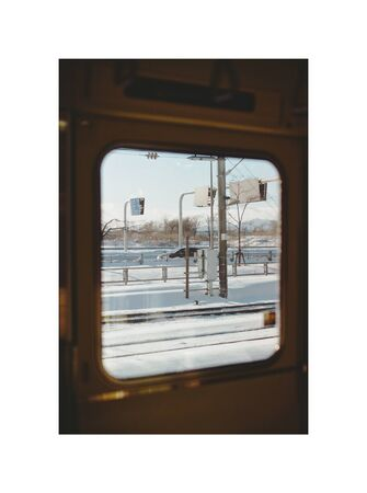 railway and signages through glass window