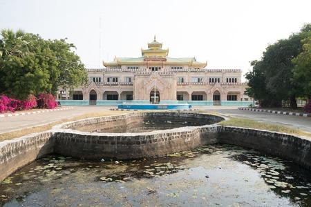 mansion behind pools