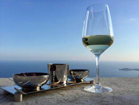 half-filled wine glass