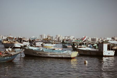 large groups of boats on the water with a city in the background