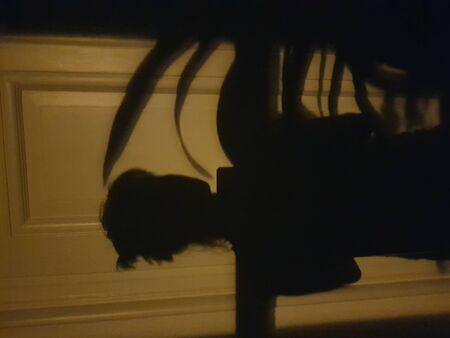 shadow of person on door