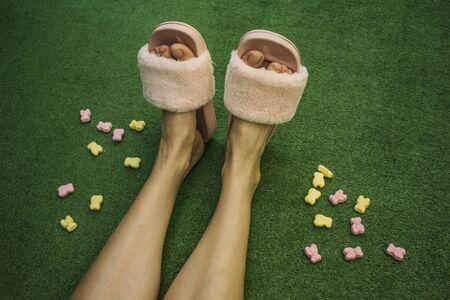 Person in slide sandals Stockfoto