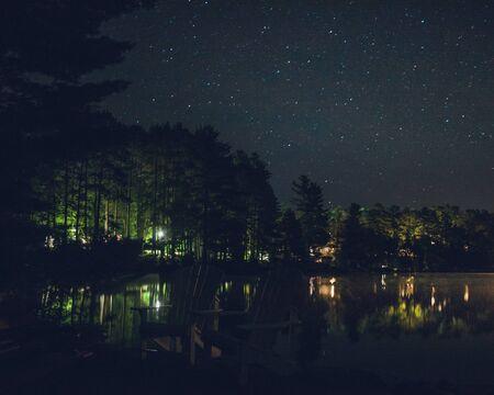 two Adirondack chairs near lake at night