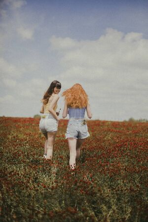 two women walking on red flower field