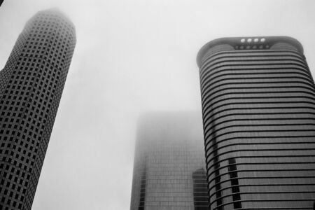grayscale photo of gray buildings