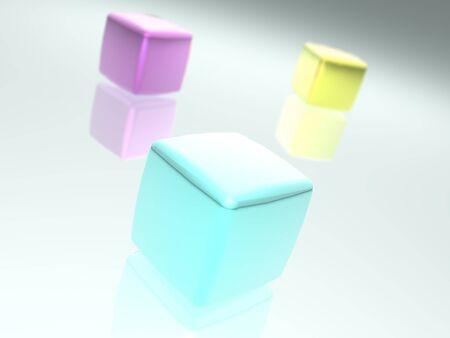 3D rendered colorfully cubes