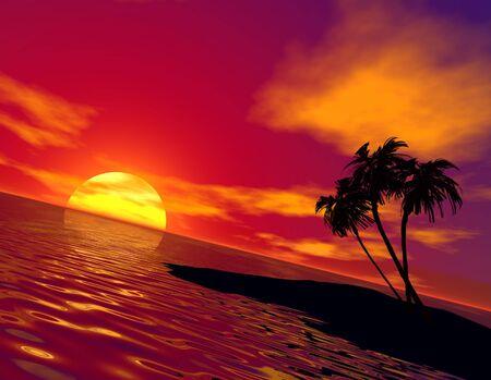 3d render tropical sunset Stock Photo