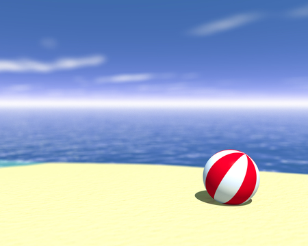 3d rendered beach ball. Coastline travel concept
