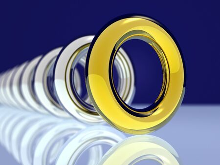 Gold and silver rings. Stock Photo
