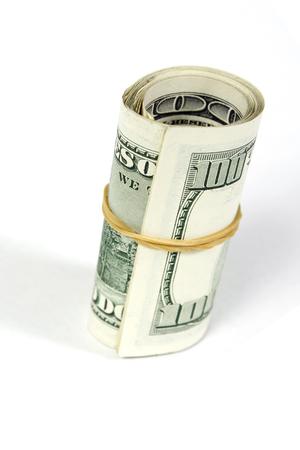 Dollar bills roll, finance concept Stock Photo