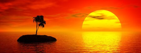 Panaromic tropic sunset. 3D rendered scene. Stock Photo
