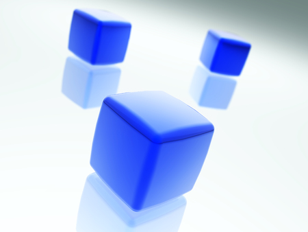 Dark blue cubes. 3D rendered concept work. Stockfoto