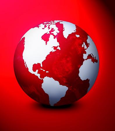 World globe illustration. Used blue background. Stock Photo