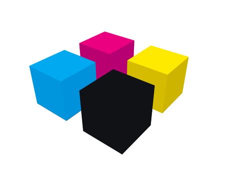 CMYK cubes illustration