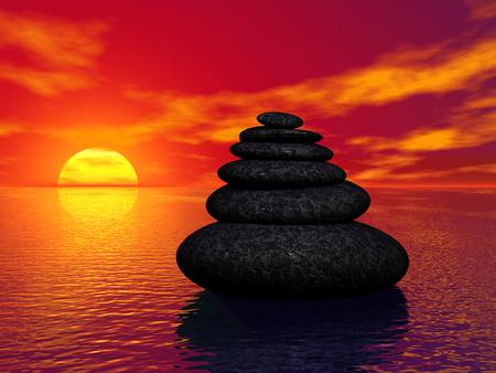 Render of Stacked Zen Stones Against Sunset