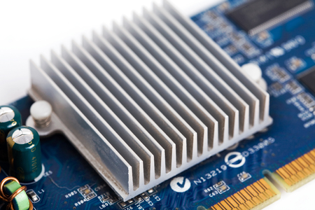 Close up of computer video card heatsink.  Stock Photo