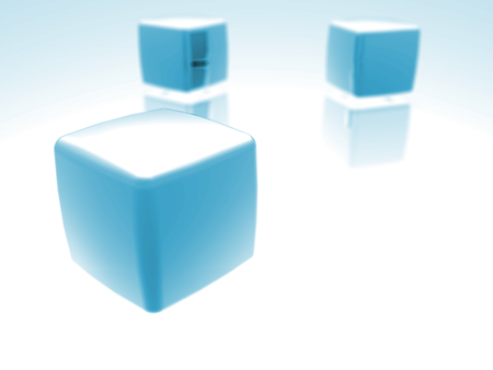 Abstract blue cubes. 3D rendered scene.