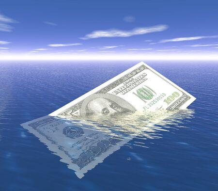 One Hundred dollar sinking in ocean. 3d render concept