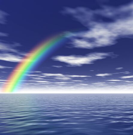 Rainbow and blue sky. 3D render concept Stock Photo