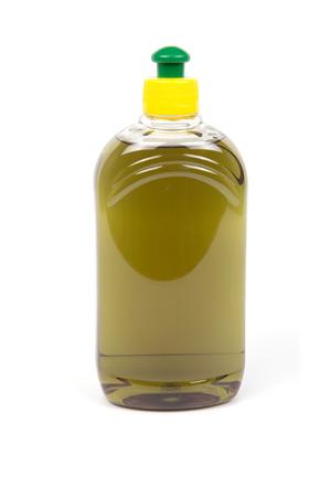 Olive color liquid soap in transparent plastic bottles. 版權商用圖片