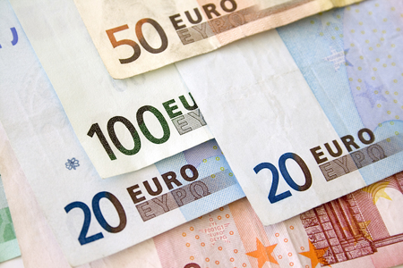 Euro bills close up Stock Photo