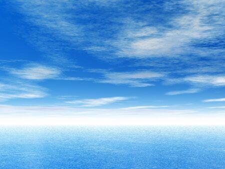 Ocean and blue sky. 3D render scene.