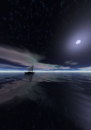 Boat at night 3d rendered scene. Stock Photo