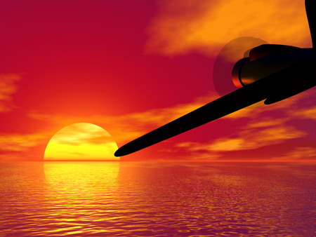 Fighter plane and scarlet sunset. 3D render work Stock Photo