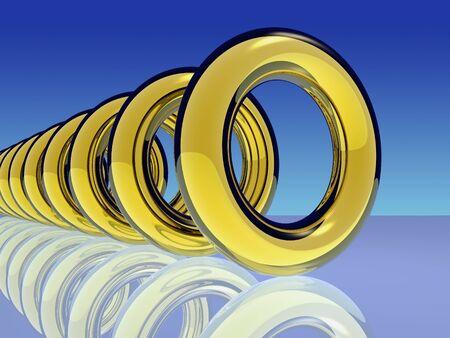 Gold rings 3D render work.