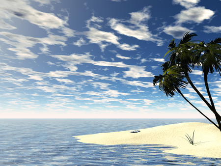 3D rendered tropic island with blue cloudy sky Stock Photo