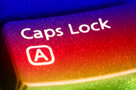 Caps Lock Key close up. EF 100 mm close up lens used. Stockfoto