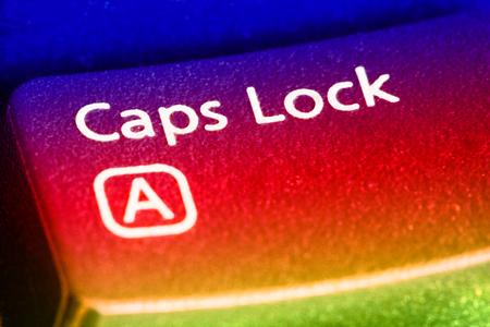 Caps Lock Key close up. EF 100 mm close up lens used. Archivio Fotografico