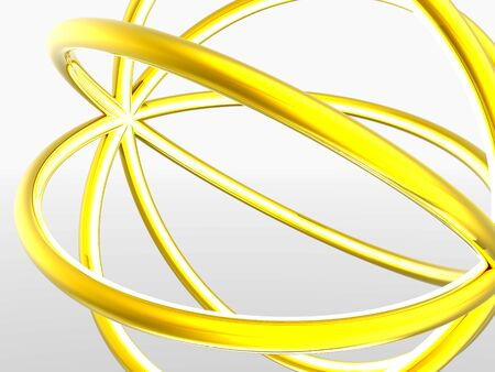 3D rendered abstract shape with golden colors.  Stock Photo