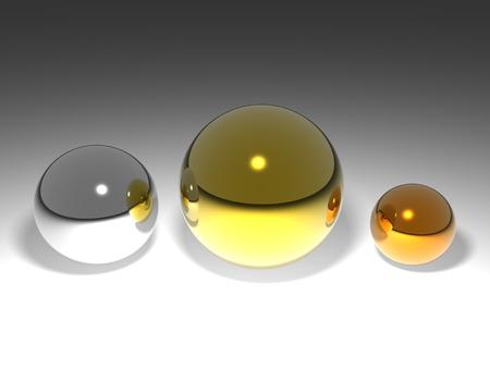 3D rendered crystal balls. 版權商用圖片