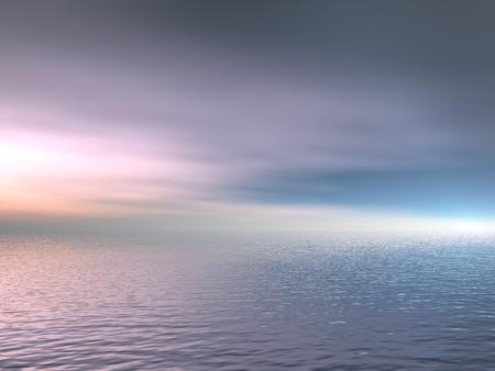 Fogy ocean and sky. 3D render scene. Stock Photo