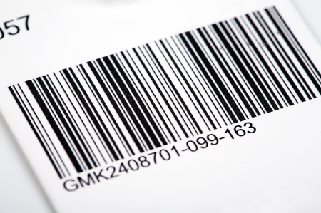 Textile bar code close up.