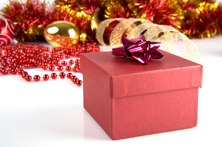 Red gift box and Christmas Ornament Stock Photo