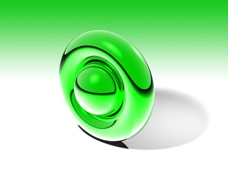 3D Shape with green metallic color.