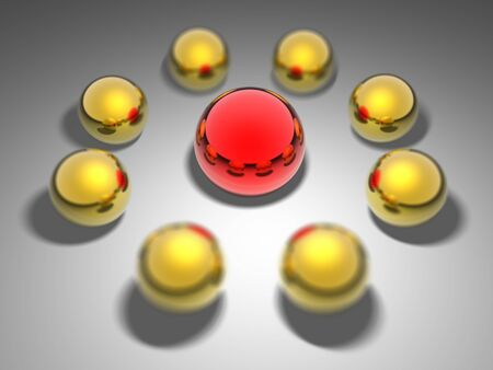 Big red ball and golden balls. 3D render leader concept Stock Photo