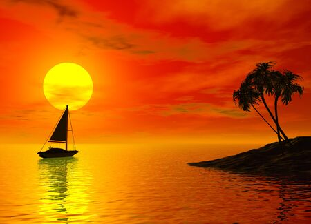 Sailboat and tropic sunset
