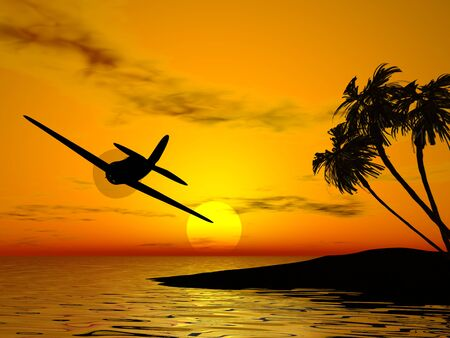 Tropic sunset and plane Stock Photo