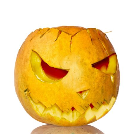 Scary pumpkin lantern osolated on white Stock Photo