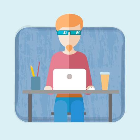 flat hipster working space vector icon