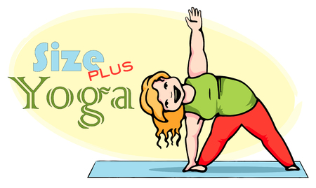 Happy fat lady doing yoga. Healthy lifestyle, weight loss, slimming concept. Plus size yoga vector
